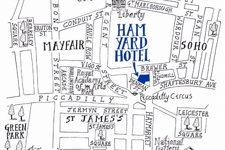 Ham Yard Hotel Location Map